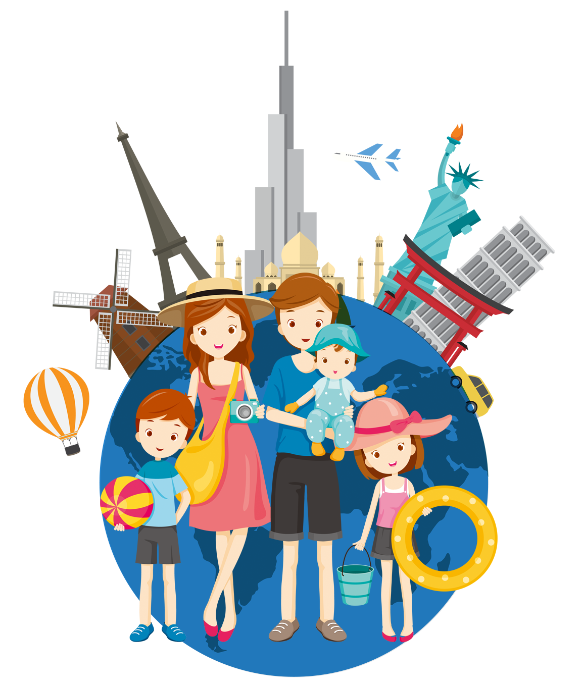 Traveling clipart travel agent. Tourism family abroad transprent