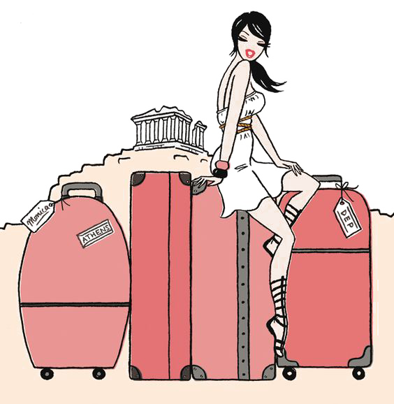 Road trip drawing illustration. Traveling clipart travel suitcase
