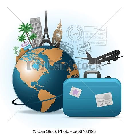Illustrations and clip art. Luggage clipart world travel