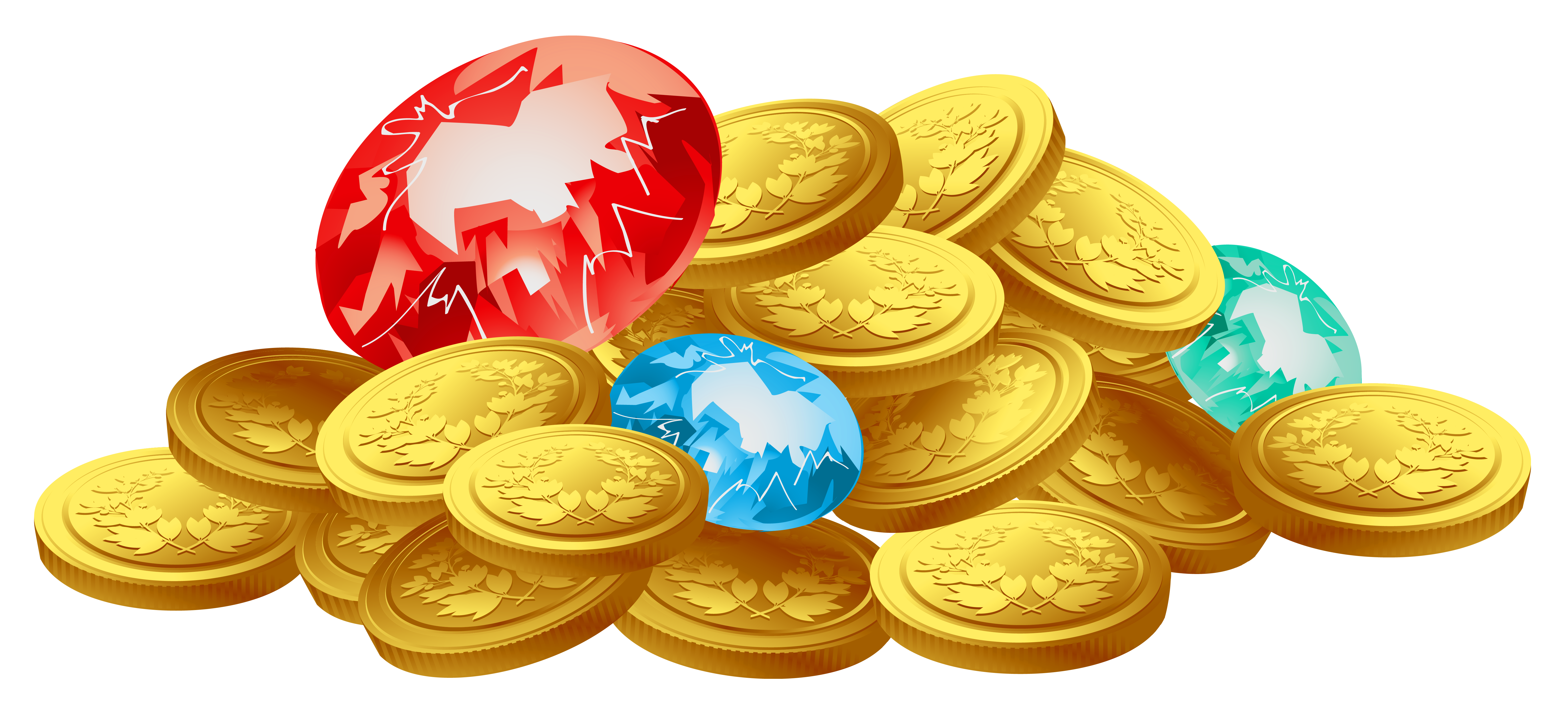 Gold coins and diamonds. Treasure clipart