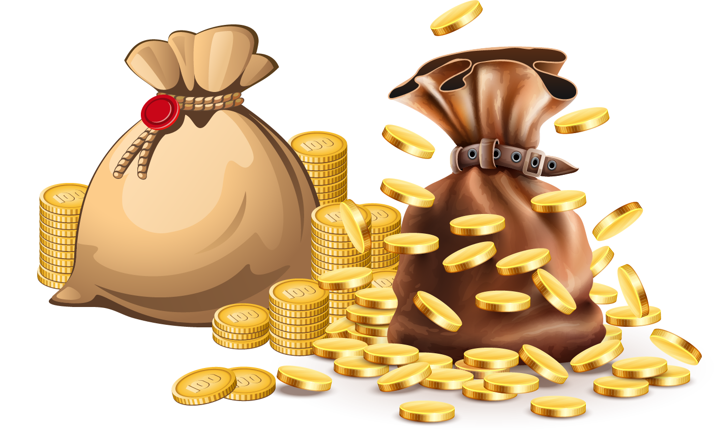 Stock photography clip art. Treasure clipart bag gold coin
