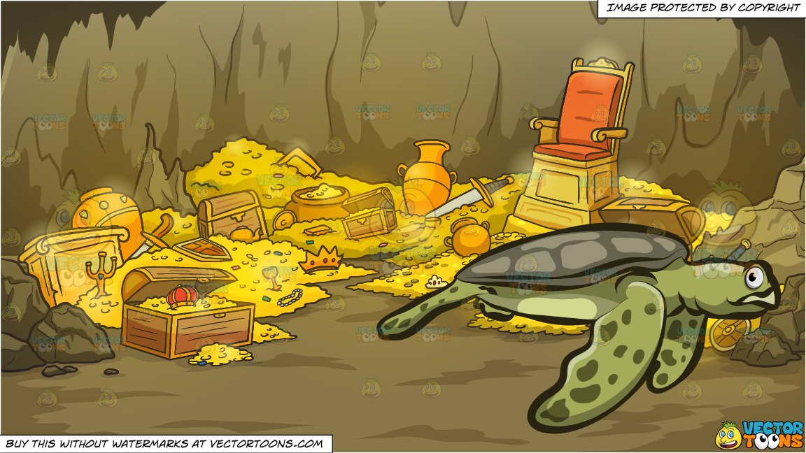 Treasure clipart big. A sea turtle and