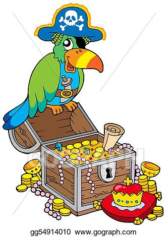 Treasure clipart big. Drawing chest with pirate