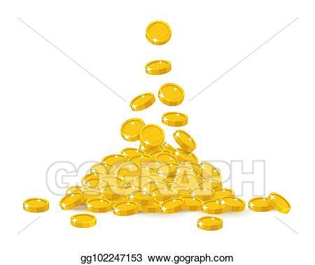 Eps vector coin stock. Treasure clipart heap