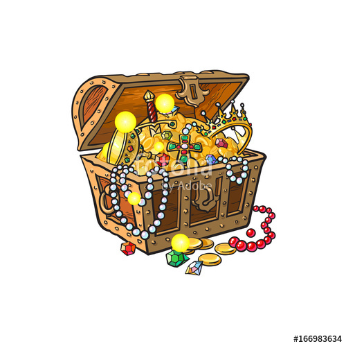Treasure clipart jewelry. Vector opened wooden chest