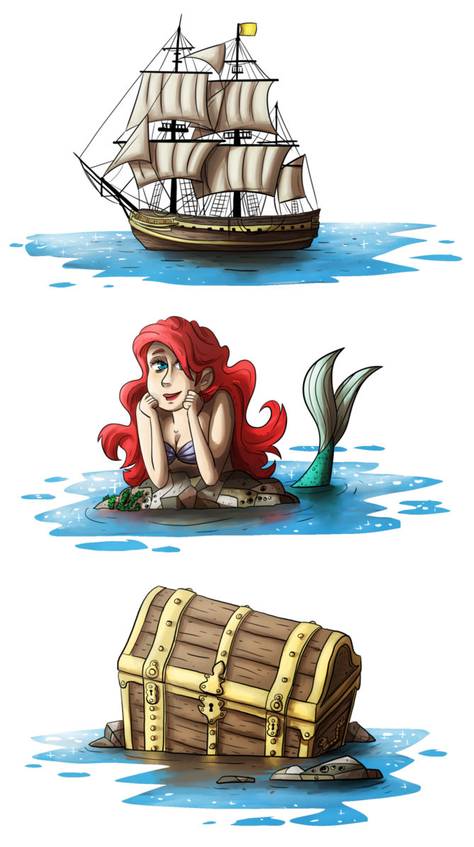 Treasure clipart mermaid. Pirates and gold by