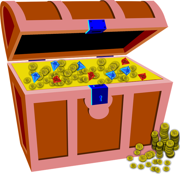 Treasure clipart outline. Wealth chest golden coins