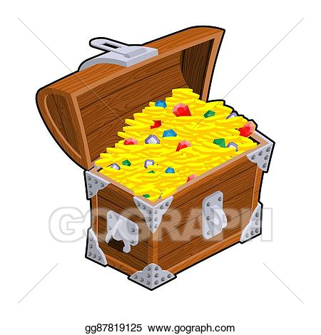 Eps vector open chest. Treasure clipart precious