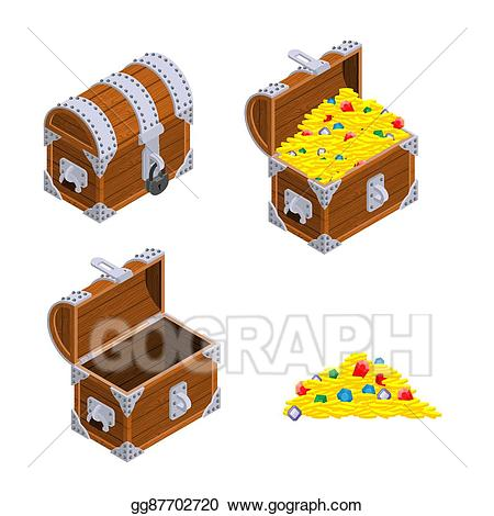 Eps vector chest set. Treasure clipart precious
