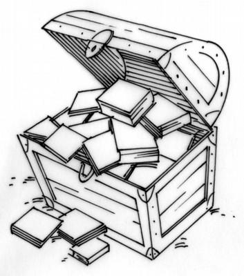 Treasure clipart reading. Chest of books wilson