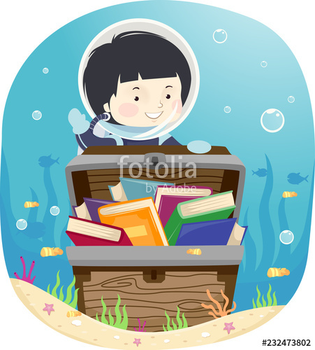 Kid boy chest books. Treasure clipart reading