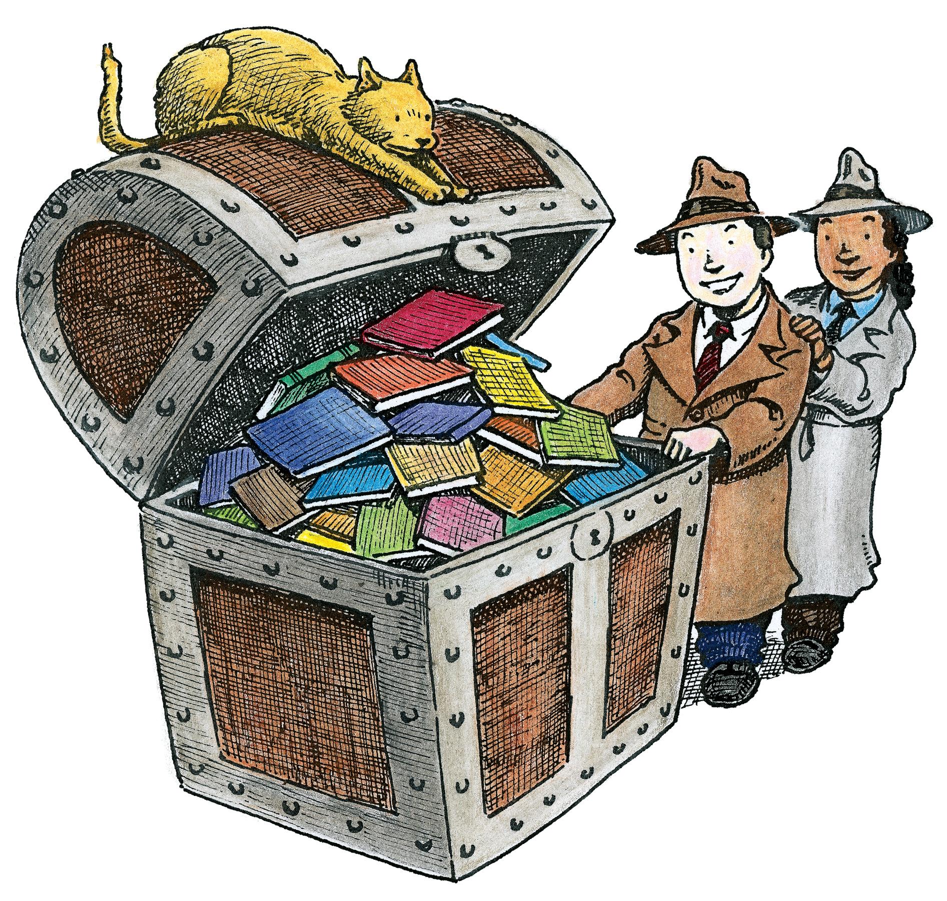 Chest of books . Treasure clipart reading