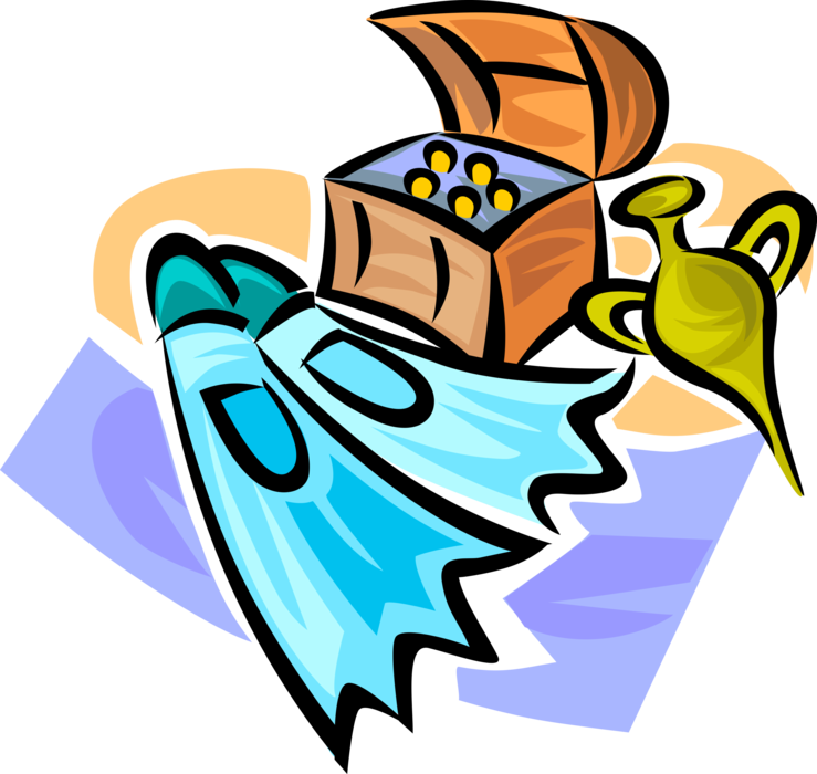 Diving flipper fins with. Treasure clipart sunken treasure