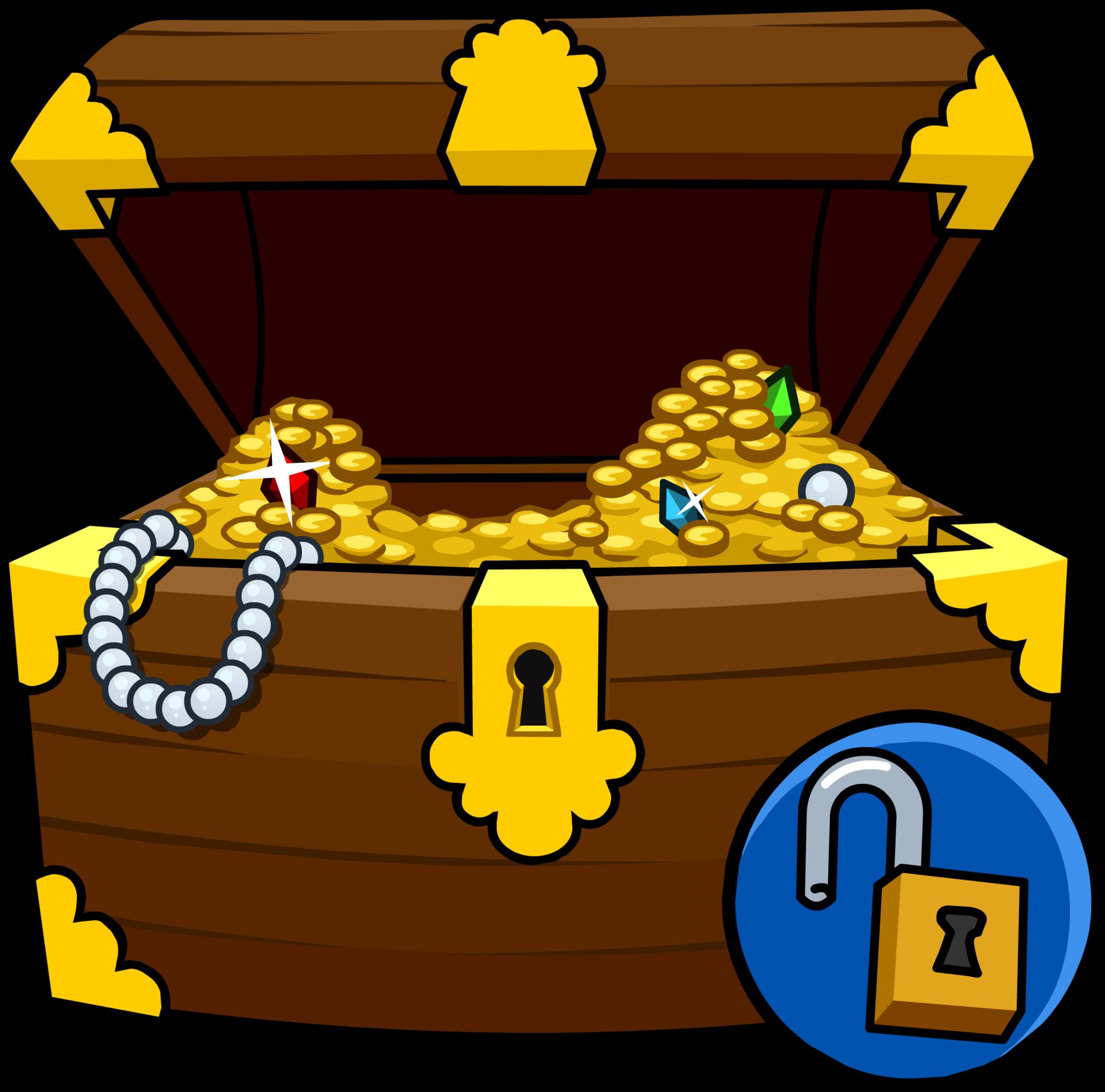 Treasure clipart treasure coin. Chest costume club penguin