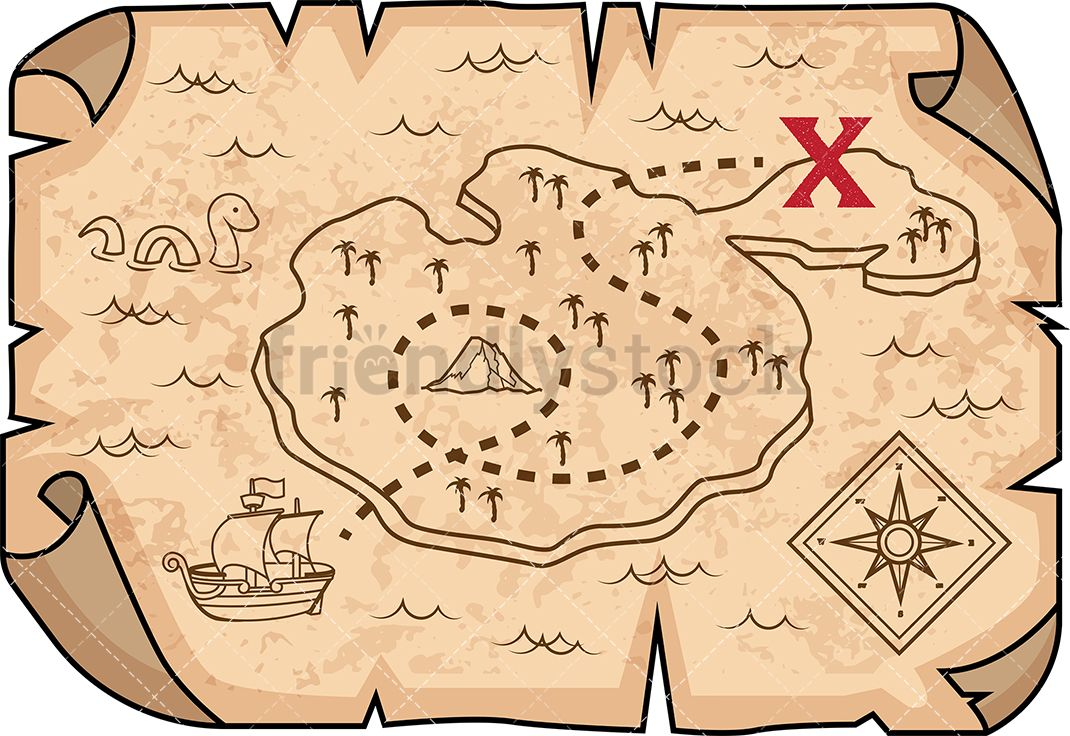 Stop motion in maps. Treasure clipart treasure map