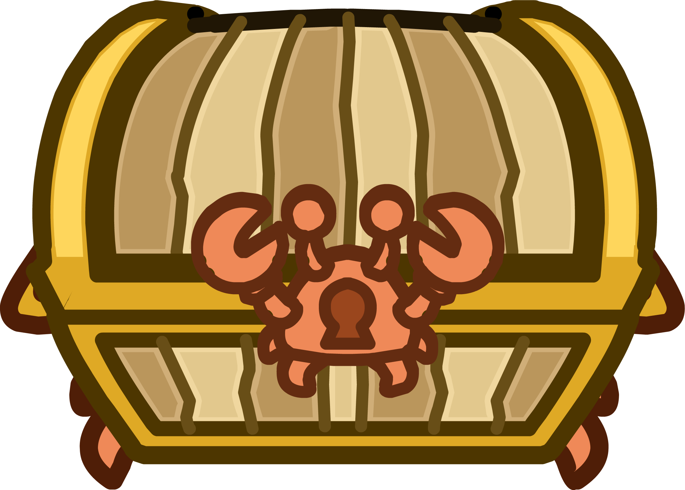 Crab chest club penguin. Treasure clipart treasure room