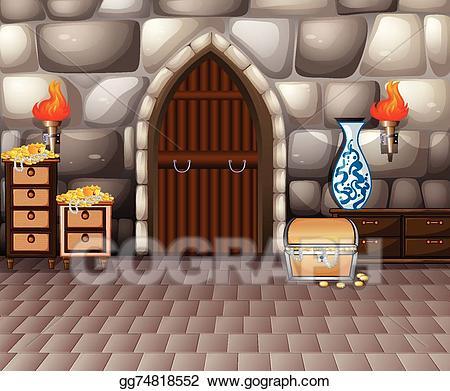 Treasure clipart treasure room. Vector illustration and eps