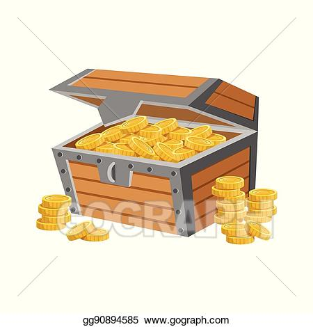 Eps vector wooden chest. Treasure clipart treasury