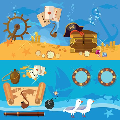 Treasure clipart underwate treasure. Pirate adventure banners underwater