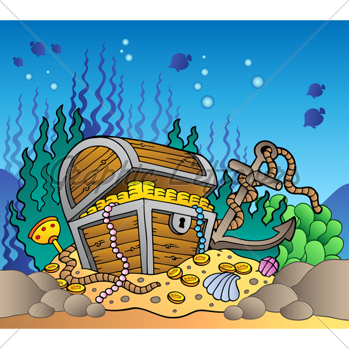 Sea bottom with old. Treasure clipart underwater