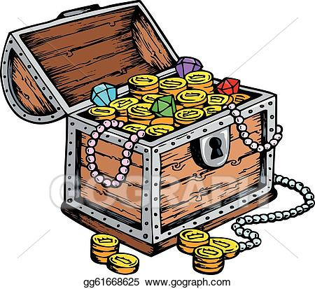 Treasure clipart valuable. Vector illustration chest drawing