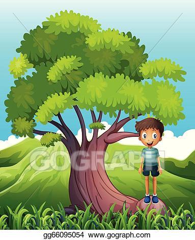 Tree clipart boy. Vector art a standing