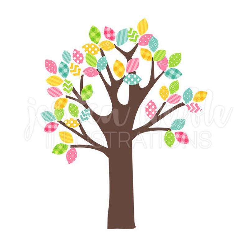 Spring pattern leaf digital. Tree clipart cute