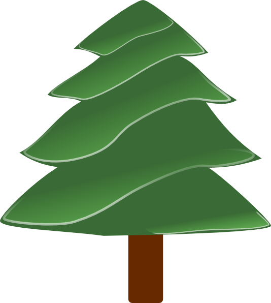 Tree clipart evergreen. Simple with highlights clip