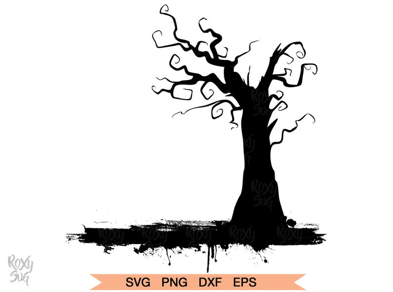 Tree clipart halloween. Svg silhouettle files for