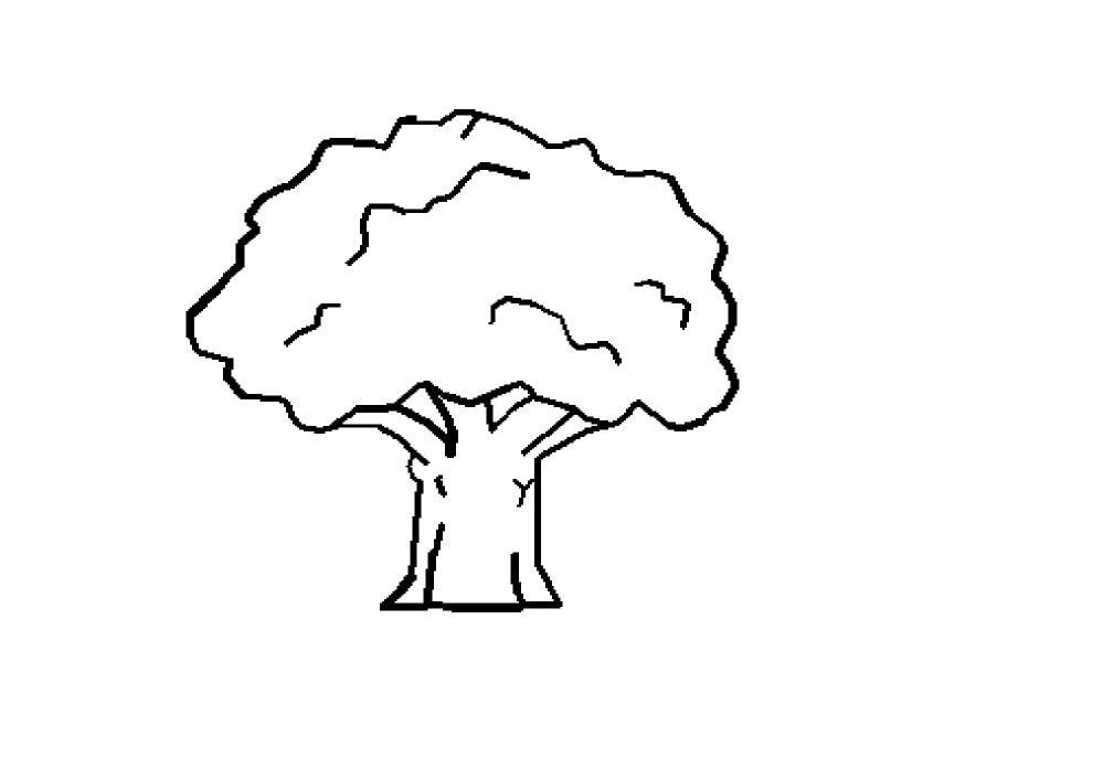 Black white line art. Tree clipart october