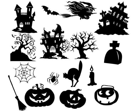 Halloween clip art silhouette. Tree clipart pumpkin