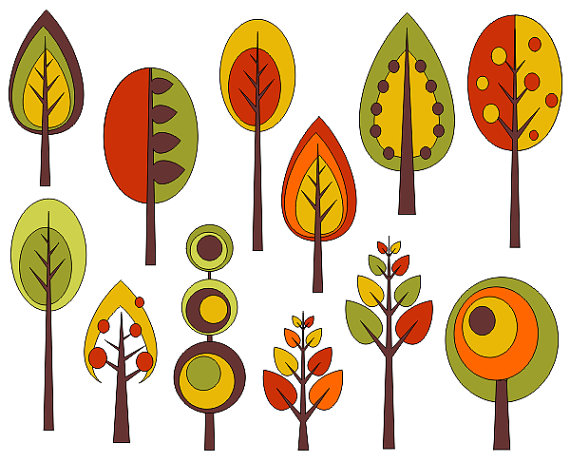 Tree clipart retro. Trees clip art autumn