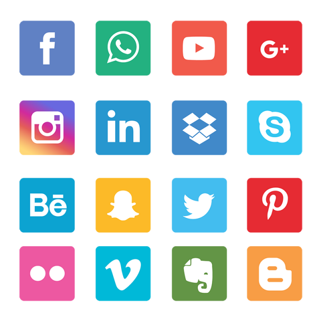 Icons set network background. Tree clipart social media