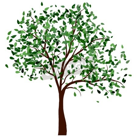 Tree clipart summer. With green leaves illustration