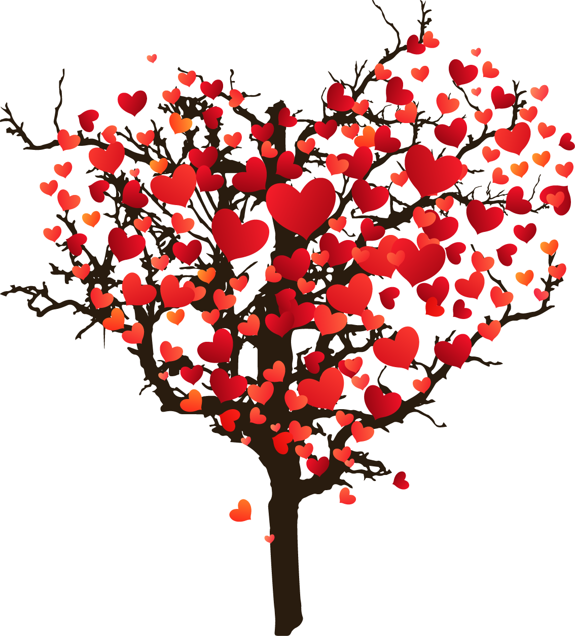 Tree clipart valentines day. Photography illustration cartoon painted