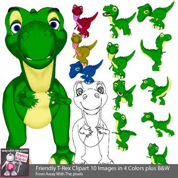 cute cartoon style. Trex clipart animated