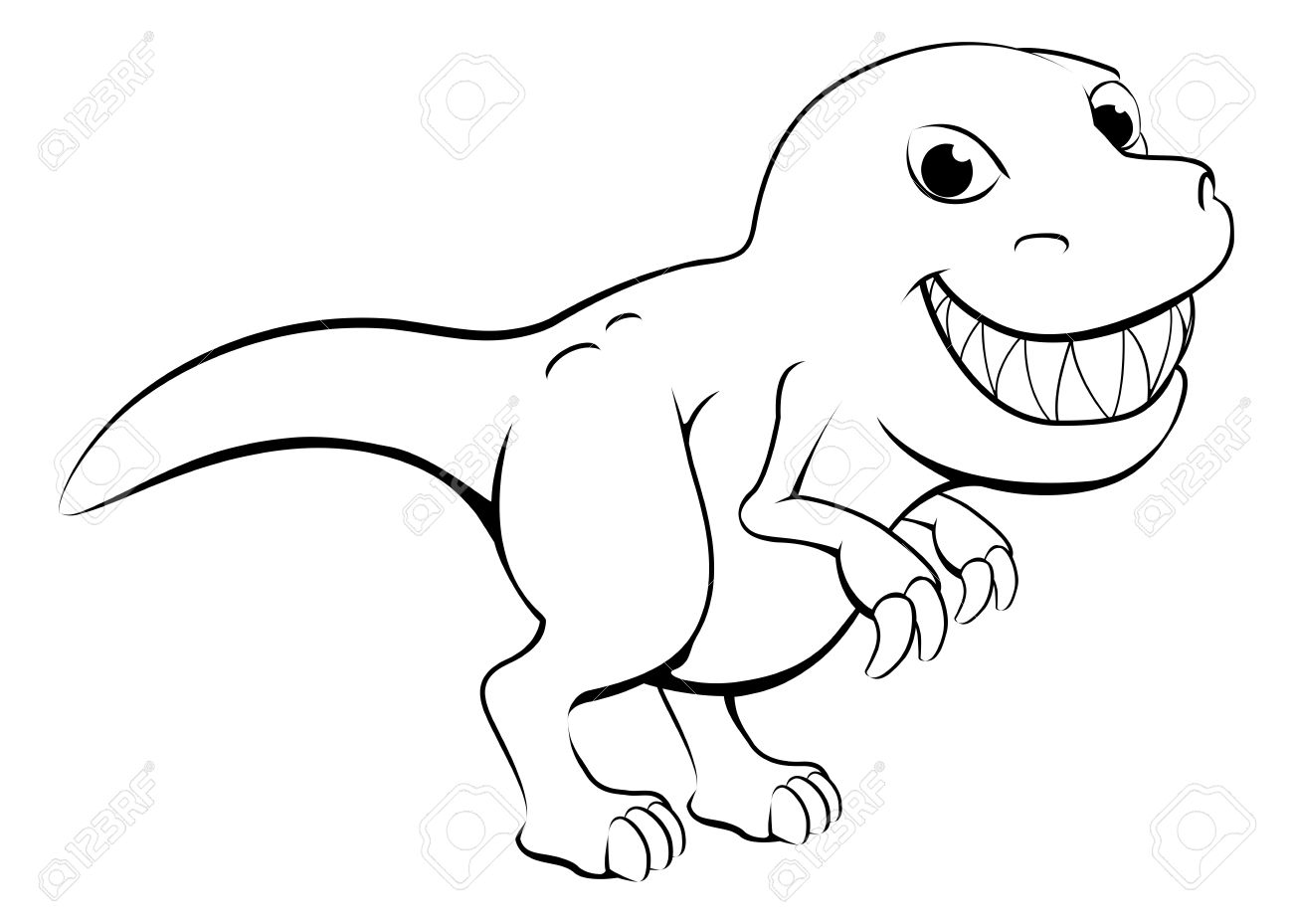 Black and white station. Trex clipart outline