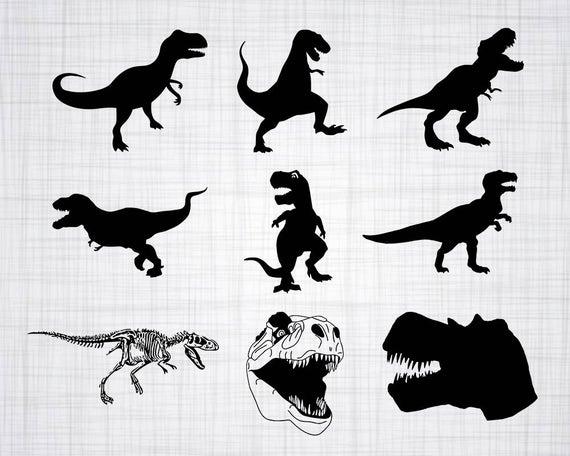 T rex svg bundle. Trex clipart vector