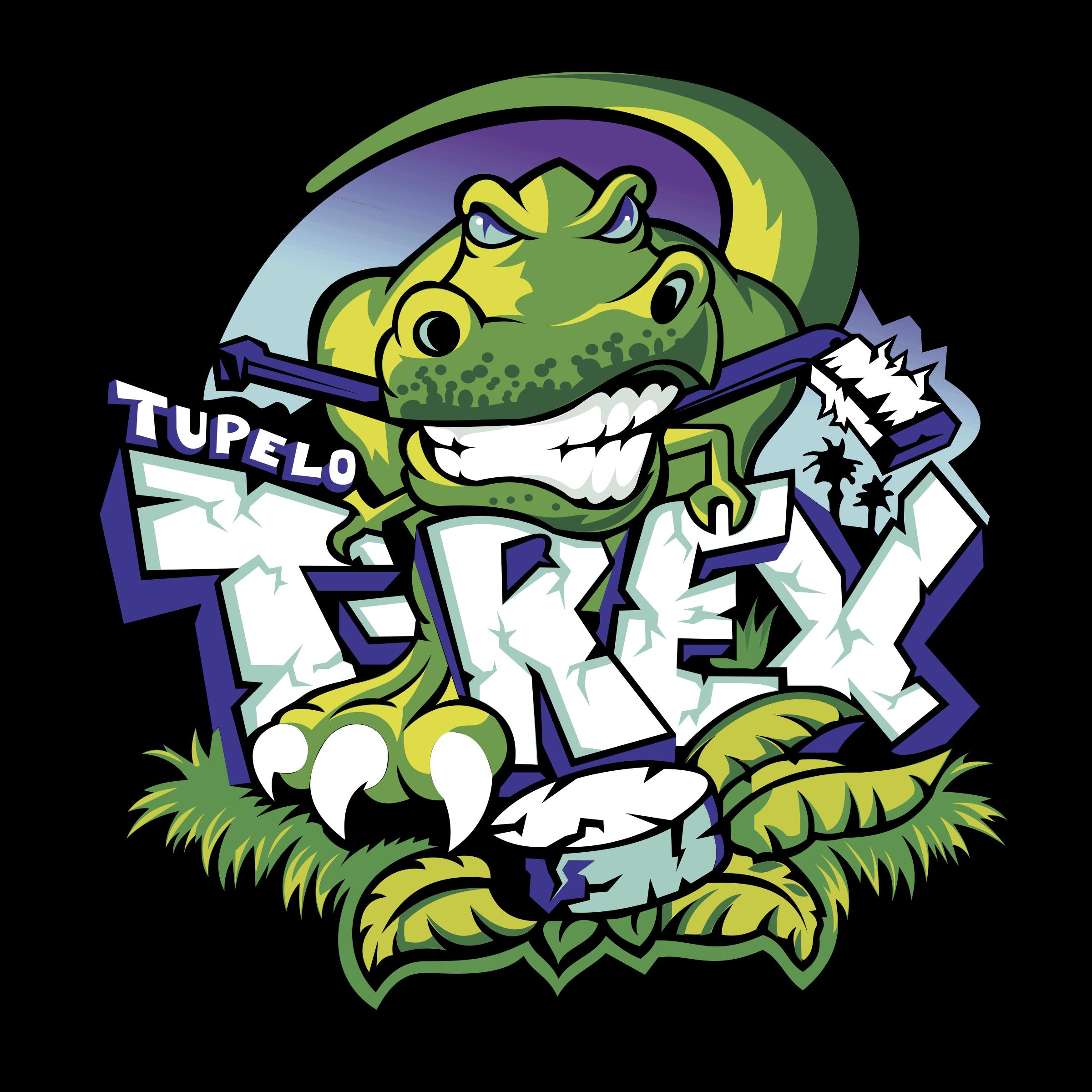 Tupelo t rex logo. Trex clipart vector