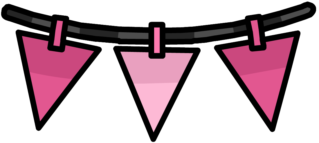 Image pink triangle pennants. Triangular clipart pennant