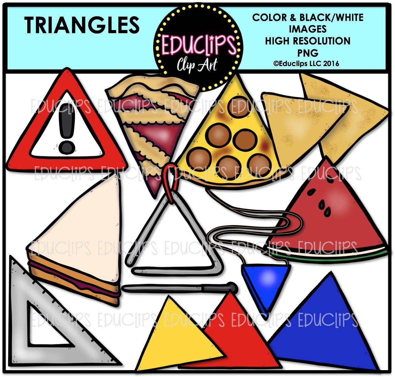 Watermelon clipart triangle sandwich. Shapes clip art bundle