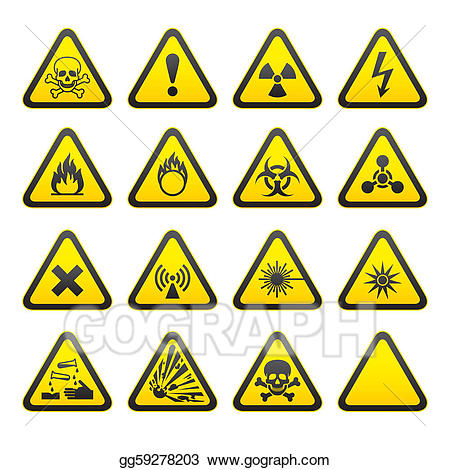 Clip art vector set. Triangular clipart safety