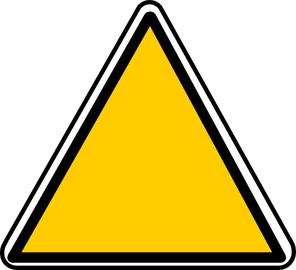 Yellow triangle sign clip. Triangular clipart warning