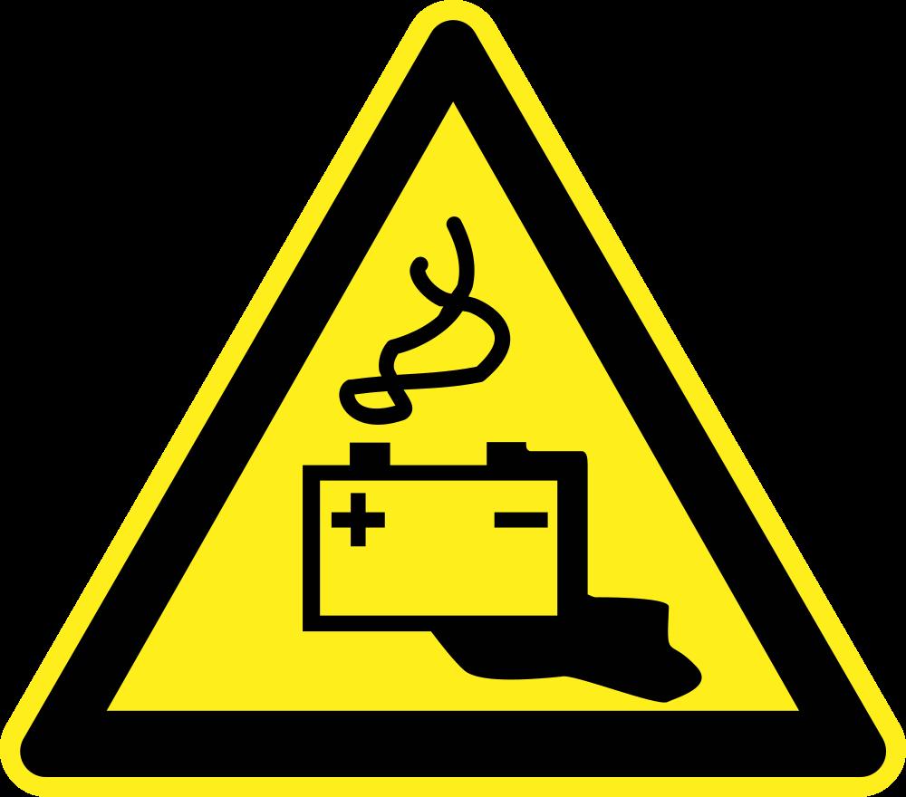 Triangular clipart warning. Onlinelabels clip art battery