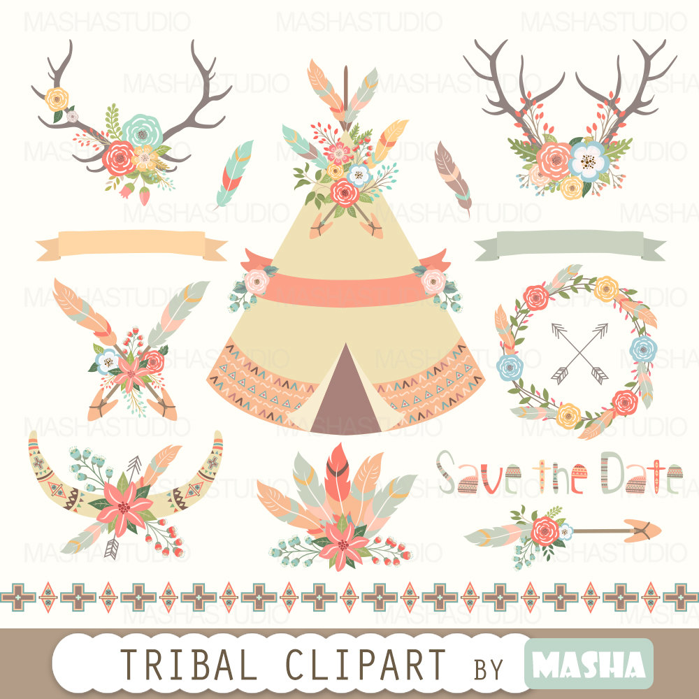 Boho clipart tent. Floral tribal
