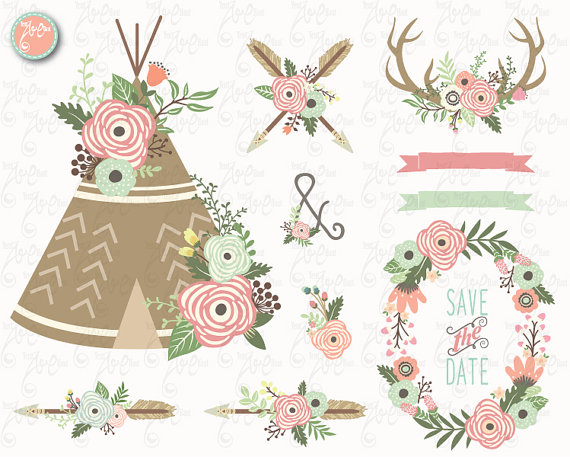Floral clip art teepee. Antler clipart tribal
