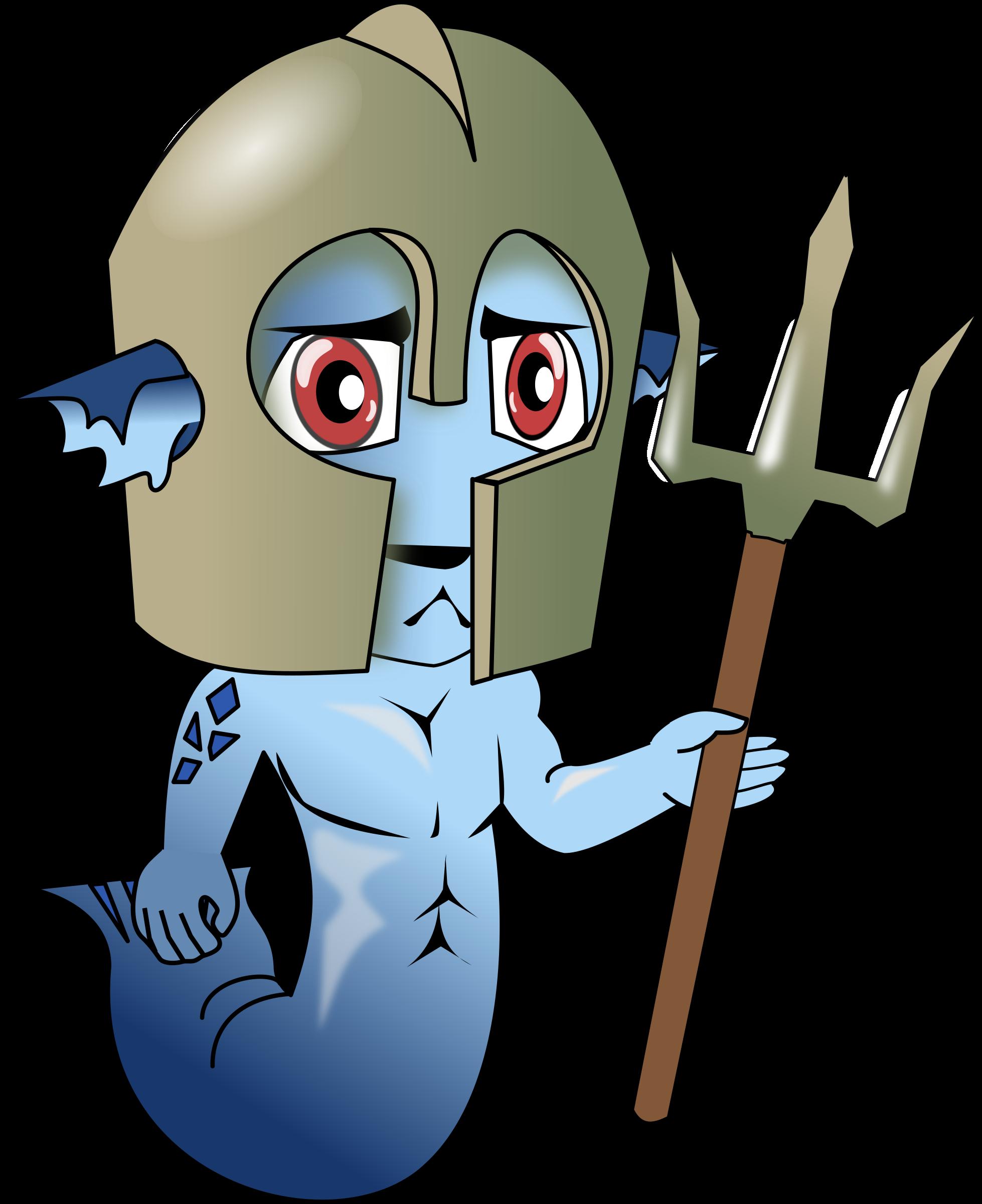 Merman chibi big image. Trident clipart animated