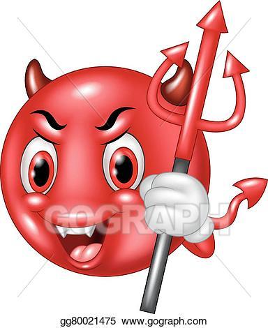 Vector cartoon devil emoticon. Trident clipart animated
