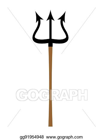 Trident clipart weapon. Vector art isolated of