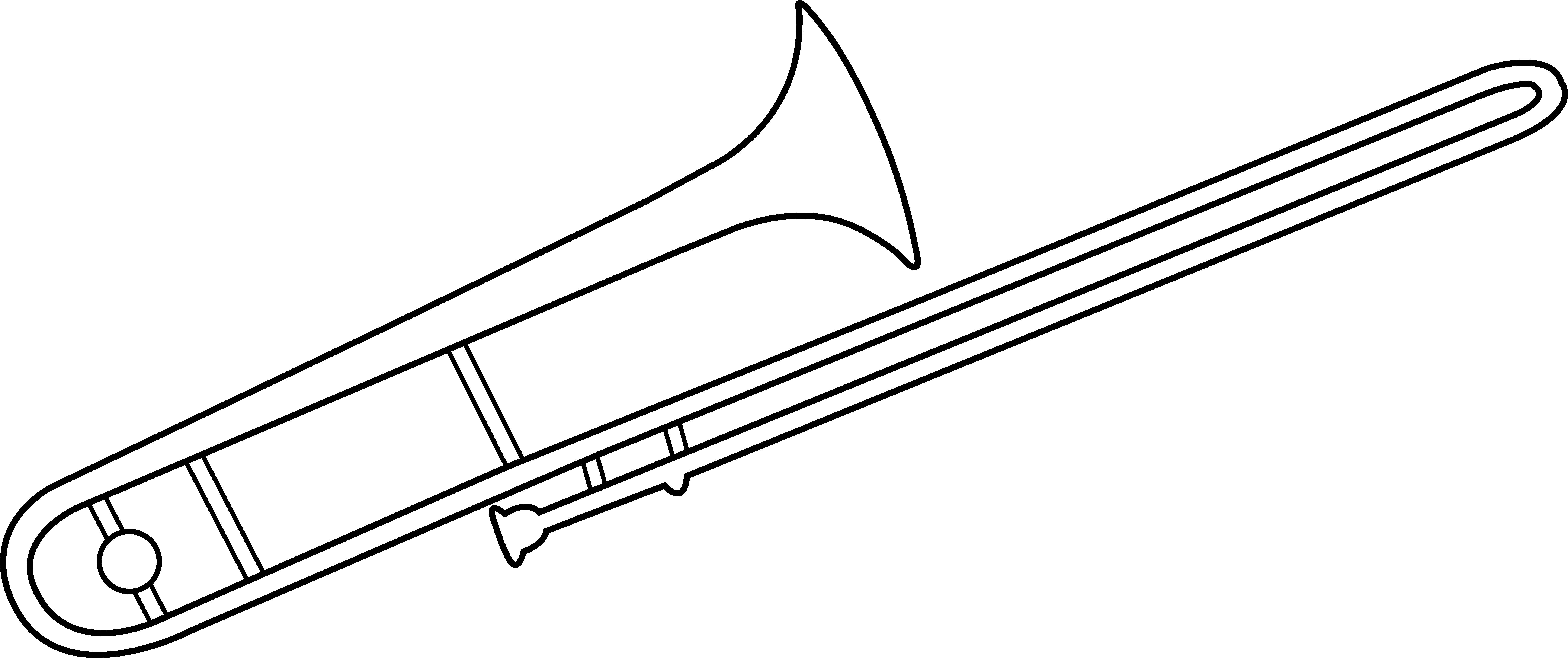 Trombone clipart. Line art free clip